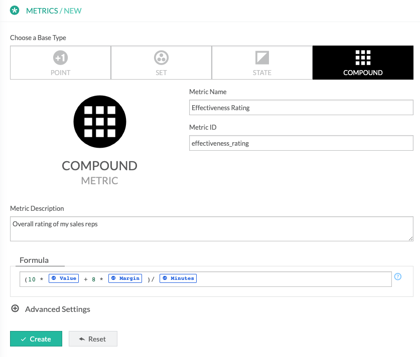 A screenshot of Compound metric being created